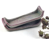 Salt and Pepper Cellars Rectangle Dishes Handmade Pottery Ceramic Tableware Rustic Condiments Green Mauve - Set of Two