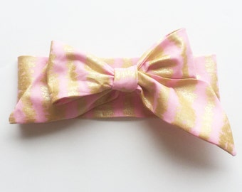 Fabric Bow Headwrap - Pink and Metallic Stripes - Infant Headband - Fabric Headband - Baby Headband - Toddler Headband Gold Metallic