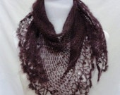 purple aubergine silk mohair shawl light and lacey