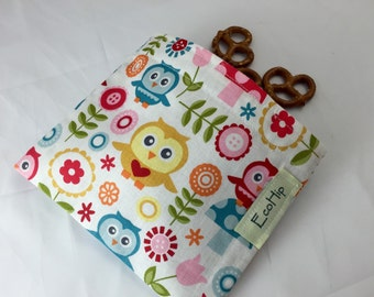 Reusable Snack Bag - Reusable Baggie - Owl Snack Bag - Fabric Snack Bag - Reusable Fabric Snack Bag - Fine and Dandy Main White Owls