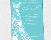 Floral Dress Invitation and Reply Card