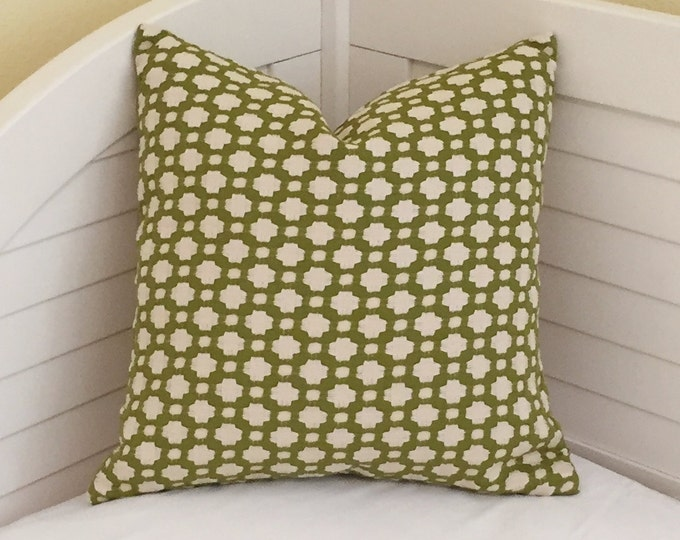 Schumacher Betwixt in Grass Designer Pillow Cover - Both Sides or Front Only - Square, Euro and Lumbar Sizes