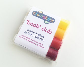 Book Club - wine-flavored lip balm set - Pinot, Cabernet, Sauvignon Blanc lip balms - book club gift