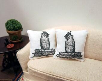 Wise owl pillows - set of two - dollhouse miniature