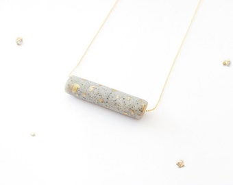 Gold Leaf Speckled Cylinder Bar Necklace - Made to Order