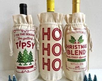 Christmas Bag, Christmas Wine Bag, Christmas Wine Tote, Christmas Wine Label, Christmas Gift, Hostess Gift, Wine Bag, Wine Tote