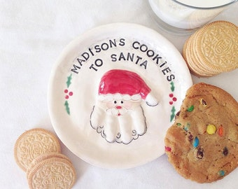 Small Christmas Cookie Plate - Santa Plate  - Plate - Personalized Christmas Plate - Baby Christmas Plate - Cookie Plate - Santa Cookies