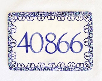 Ceramic Address Sign - House Numbers - New Home Address - Home Address - Beach Address Plaque - Home Address - Number Sign - Home Sign