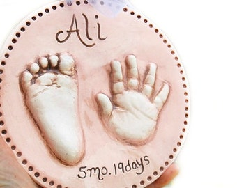 Baby Ceramic Hand and Footprint Plaque -  Baby and Kids Keepsake Gift - Personalized Baby Keepsake - Gift For New Mom - Baby Gift - New Baby