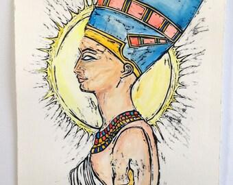 Hand Painted Nefertiti Woodcut