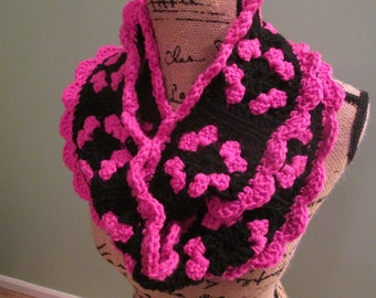 Crochet infinity scarf, bright pink and black, granny square, magenta and black