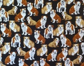 Allover Seated Bulldogs on Black Print Pure Cotton Fabric--By the Yard