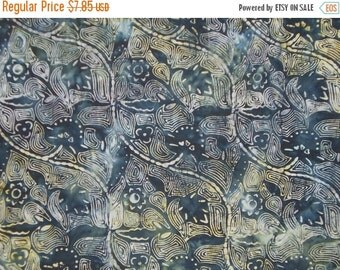 ON SALE REMNANT--Indigo and Neutrals Batik Cotton Fabric--One Yard