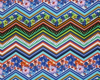ON SALE Colorful ZigZag Floral Print Pure Cotton Fabric--One Yard