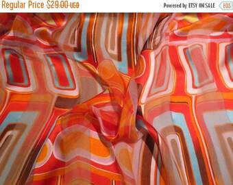 ON SALE Orange with Blue and Yellow Op Art Print Pure Silk Burnout Chiffon Fabric--One Yard