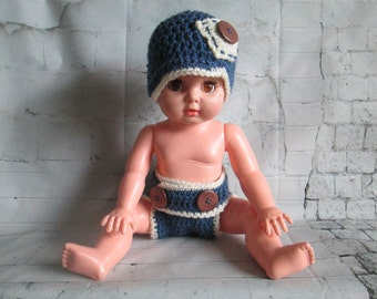 Crochet Newborn Diaper Cover Newsboy Hat Set, Newborn Photo Prop Set