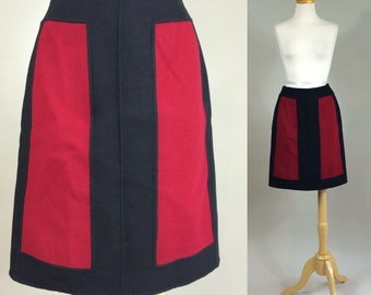 Color Block Skirt / Vintage Couture Colorblock Skirt / 1990s Colorblock Skirt / Vintage Skirt / Vintage Color Block Skirt / Skirt