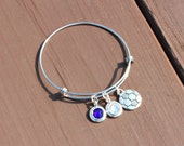 Soccer Adjustable Bangle - Team Colors - Swarovski Crystals - Gifts for Her - Senior night - Christmas Gift