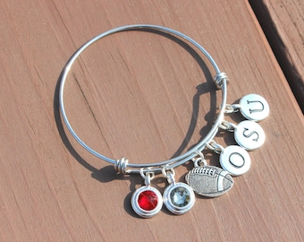 Bangle - Tailgating - Football - Team Colors - Swarovski crystals - Adjustable bangle - School Initials up to 3 letters - Graduation 2017