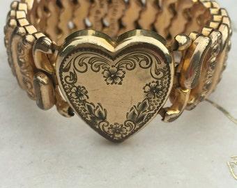 Vintage Heart Sweetheart Expansion Bracelet Pittman Keeler American Queen, Engraved Sweetheart Bracelet, Estate Jewelry