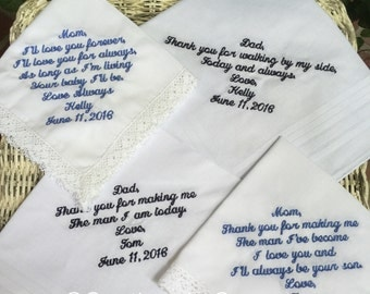 Set Of Any 4 Custom Embroidery Wedding Handkerchief