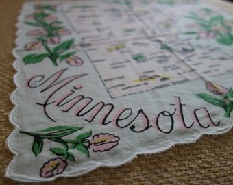 Hankie with State of Minnesota blue white and pink