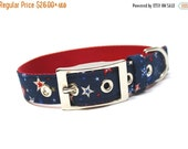 ON SALE Dog Collar-  Navy Blue and Red Shooting Stars