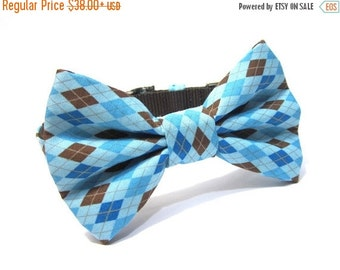 BIG SALE Dog Bowtie, Bow tie Dog Collar, Dog Collar Bow, Bow Tie Attachment, Bowtie Dog Collar...Blue Argyle
