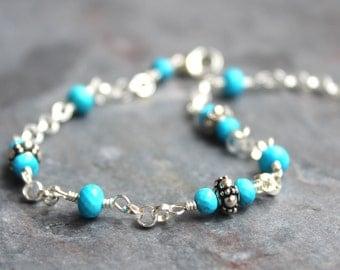 Turquoise Bracelet Sterling Beaded Gemstone Bracelet Blue Gems with Bali Beads