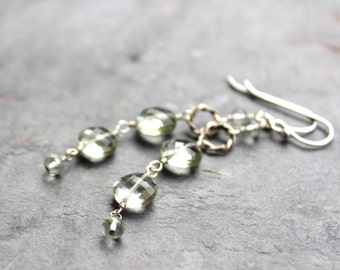 Long Green Amethyst Earrings Prasiolite Earrings Faceted Coins Mint Green Sterling Silver Waterfall