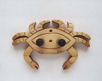 Ukulele wall mount hanger, handcrafted crab