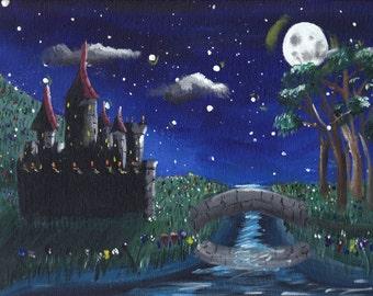 "Castle Painting, ""Castle of Dreams""  ORIGINAL artwork, acrylic on canvas board 9""x 12"""