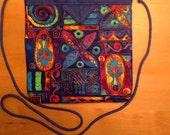 Colorful Global Print Quilted Fabric Snap Bag Purse Handbag Handmade