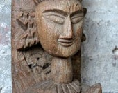 Vintage Hand Carved Indian Hanging Statue Female Solid Wood Global Accent Wall Hanging Import Furniture