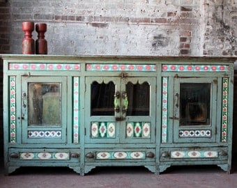 Sideboard Reclaimed British Colonial Era Buffet Antique Furniture India Moroccan Decor Turkish Boho Global Media Stand