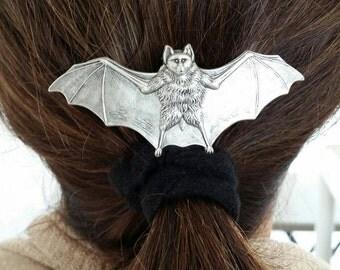 Goth Bat Barrette In Antiqued Silver