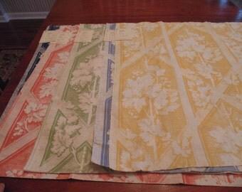 """Five large pieces of designer fabric samples.  """"Grape Trellis"""" design,  Five gorgeous colors"""