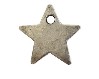NEW** Flat Itsy Tag Star Single Antique Silver Charm ( Set of 5)