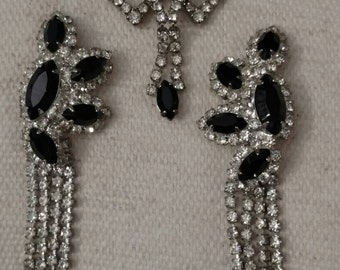 """C*L*E*A*R*A*N*C*E Black and Clear Rhinestone Necklace and Chandelier Design Earrings Set, """"RUNWAY STYLE"""" Romantic, Formal Accessory Set"""