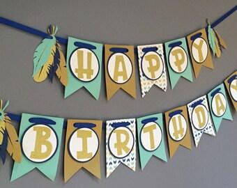 Tribal Birthday Banner|Boys Boho Birthday Banner|Arrow Feather Birthday Decorations|Aztec Birthday|Blue Teal Gold Glitter