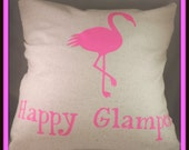 Glamper- Happy Camper-- Happy Glamper- Glamping Pillow -Pink Flamingo Camping Throw Pillow-- Happy Camping Pillow, Pink Flamingo