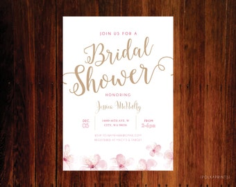 Floral Pink Cherry Blossom Bridal Shower Invitations - set of 12