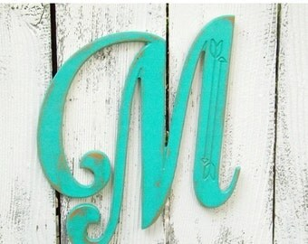 SUMMER SALE Wood Letter M~Monogram Letter~Arrow Wall Letter~Shabby Chic Letter~Rustic Wall Letter