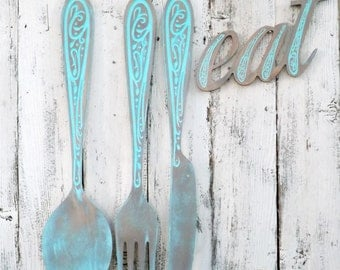 Fork and Spoon  Wall Decor~Large Wood Fork and Spoon Wall Art~Wood Fork and Spoon~Kitchen Wall Decor