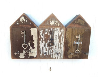 Beach Hut Key Jewelry Hook Rack Natural Chippy Browns Lake House Coastal Art Decor by CastawaysHall Choose Your Colour -  READY To SHIP