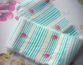 Shabby Chic Rose Ribbon with Aqua Stripes, hand torn, pink, frayed, craft supplies, diy, trim, Scrapbooking, Cardmaking
