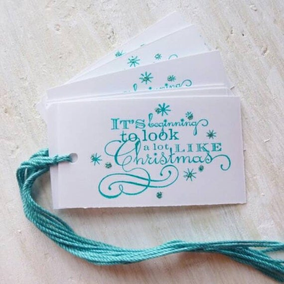 Christmas Tags, It's Beginning To Look A Lot like Christmas Gift Packaging, Aqua Blue