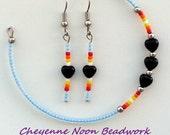 Native American Beaded Bracelet and Earring Set - Black Hearts - Light Blue