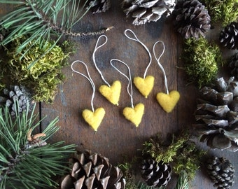 Felted wool heart ornaments, set of 5, Yellow, mini yellow ornaments for Christmas tree, teacher christmas gift, essential oil diffuser car