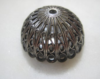Vintage Domed Filigree: 1970s Guyot Ornate Round Lacy Dapt (Dapped) Stamping, Silver Plated Jewelry Finding, Unused, 15mm x 11mm Deep, 1 pc.